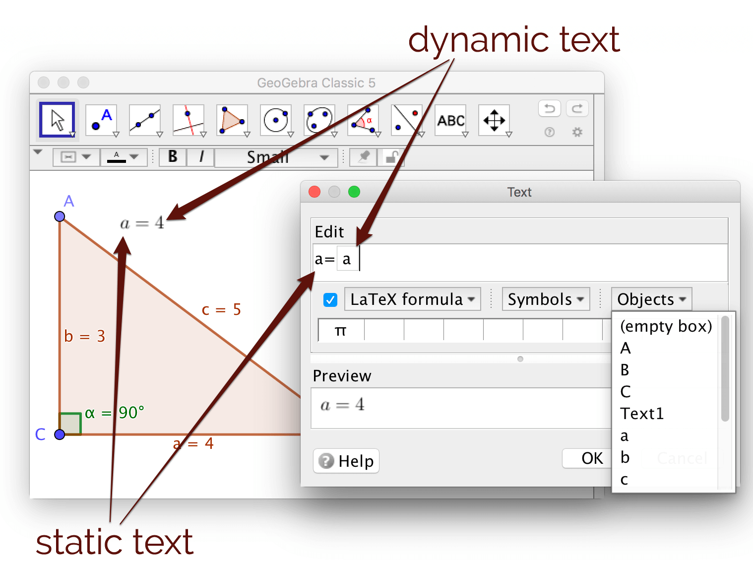 GeoGebra Tutorial - Dynamic Text, Measurement and Decorations