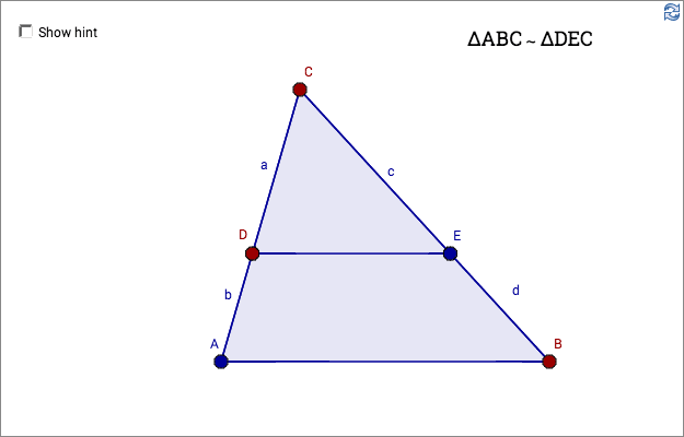 Load GeoGebra Worksheet Similar Triangles 2